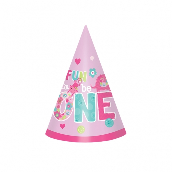 Wild At One Girls 1st Birthday Cone Hats