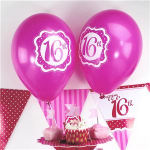 Perfectly Pink Happy 16th Birthday Balloons 10 Latex